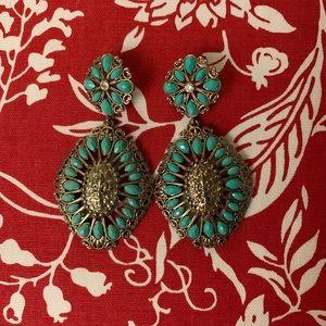 Jewelry - Aqua/Gold Statement Earrings